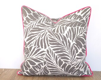 Grey outdoor pillow cover palm leaf print, tropical cushion case beach house decor, banana leaf pillow piping gray and pink decor