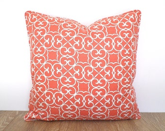 Coral throw pillow cover 20x20 bedroom decor, trellis pillow case, coral cushion for couch and sofa, geometric pillow with piping