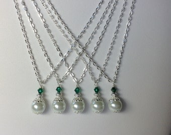 White Pearl and Green Crystal Bridal Bridesmaid Necklace