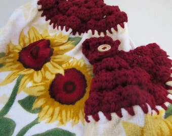Hanging Kitchen Dish Towels with Crochet Tops Towel Set Red & Gold Sunflowers Handmade