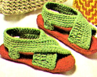 Crochet Pattern Vintage Rug Yarn Sandals - Instant PDF DOWNLOAD