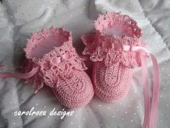 Thread Crochet Pattern CR59 Elegant Lacy Baby Shoes/Booties
