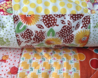 "Quilt-Yellow, White, Orange, Green, Blues -""Sunshine Quilt"""