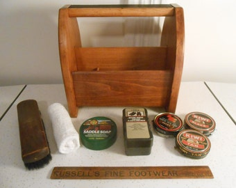 Mid Century Solid Hard Maple Shoe Shine Box with Extras/60's Era