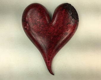 Special Valentines day gift wooden heart red wood carving heart by Gary Burns the treewiz