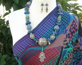 "AMAZING Antique Yemeni Silver & Indonesian ""Jatim"" Face Beads,Quality Lapis, Ethnographic Silk Road Investment Necklace Set by SandraDesigns"