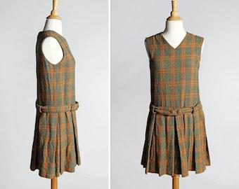 Vintage 1960s Plaid Dress - Green Yellow Orange A-line Shift Sleeveless Pleated Pleats 70s 60s Schoolgirl Women's Fall - Size Small