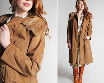 Vintage Leather and Fur Swing Coat - Brown Suede Leather 1960's 60's Retro A-line Jacket Button Up Fall Winter Formal - Size Large