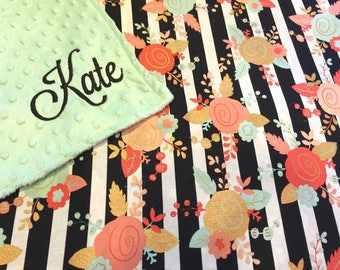 Beautiful Floral Personalized Embroidered Minky Backed Baby Blanket -Choose size and font!