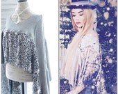 Boho Metallic silver Holiday poncho top, upcycled anthropologie sequin sweater, romantic bohemian gypsy, french chic, True rebel clothing