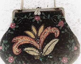 Black Gypsy Soul Vintage Beaded Purse, Beaded Black Bohemian Retro Clutch, Boho Handbag, Wanderlust True Rwbel Clothing