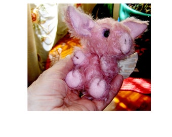 Artist Angel Piggy 4 inch jointed, Mohair, dressed as shown, one of kind for Christmas