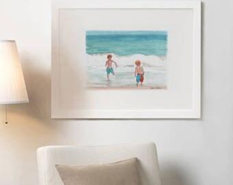 Art Print Fire Island Beach Scene Watercolor