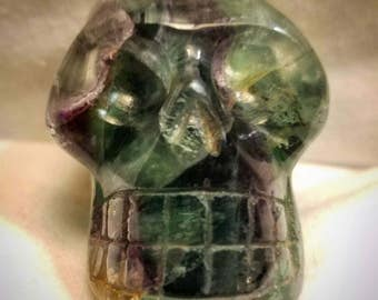 Rainbow Fluorite Skull focus, psychic protection, intellect, emotional independance green purple