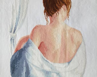 New Finished Completed Cross Stitch - Back - Attractive woman - P140