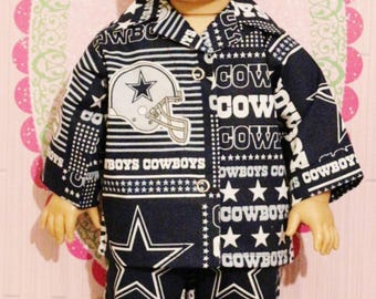 """FOOTBALL DALLAS COWBOYS Pajamas Fits 18"""" Dolls Made in America by mamastwinsees"""