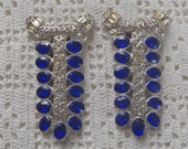 Vintage Dress Clips Blue and Clear Rhinestones Pot Metal