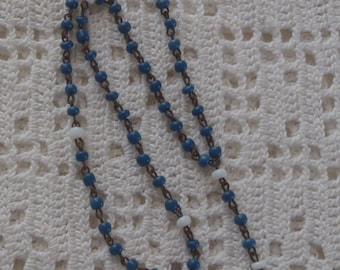 Vintage Miniature Rosary Blue and White Glass Beads