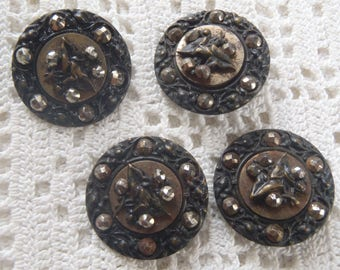 Vintage Cut Steel Round Buttons 4 Pc.