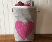Trundle Bag- Love in Every Stitch, Roll Down Top Knitting Project Bag