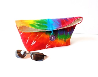 Fold over clutch bag, hippie rainbow tie dyed medium weight cotton fabric, foldover bag, pouch for cosmetics, everyday bag, gift for her