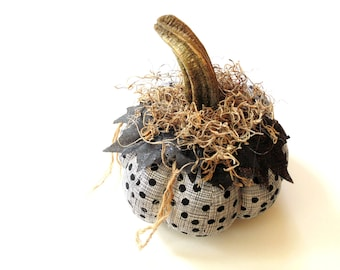 Fabric pumpkin with real stem, black white Goth Halloween decor, Thanksgiving decor, farm country modern, stuffed pumpkin