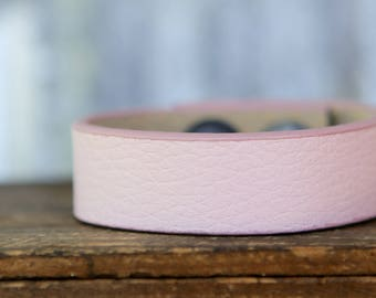 CUSTOM HANDSTAMPED CUFF - bracelet - personalized by Farmgirl Paints - pale pink cuff