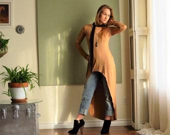 NEW Boho Tunic Shift Dress Long Sleeves Asymmetric Minimalist Tee Shirt Dress Lagonlook Maxi Version - Rayon/Spandex  XS - L (More Colours)