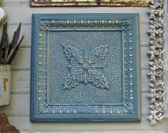 Vintage Ceiling Tin Tile. 2'x2'. 10th Tin Anniversary Gift.  FRAMED Metal tile. Antique Architectural salvage. Blue wall decor.