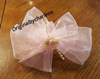 Boutique Custom Made OOAK Soft Pink Organza with Roses and Pearls Hairbow