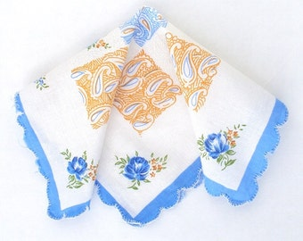 Handkerchief, Blue, Small, Child's, Hand Painted, Hand Hemmed, Vintage