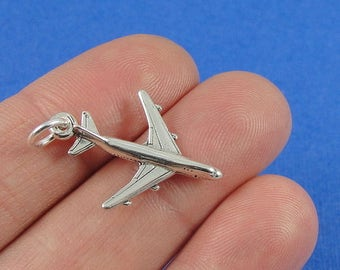 Airplane Charm - Sterling Silver Airplane Charm for Necklace or Bracelet