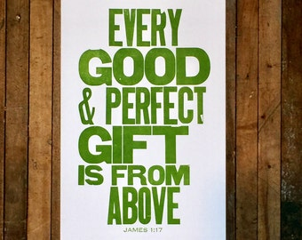 Religious Nursery Art James 1:17 Every Good and Perfect Gift is from Above Letterpress Print Bible Verse Green Wall Art Baby Nursery Sign