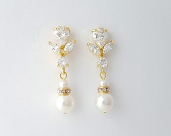 Gold Bridal Earrings Pearl Crystal Gold Wedding Earrings Swarovski Pearl Drop Bridal Earrings Wedding jewelry, Isla