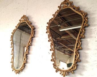 "Pair Large Vintage Italian Gold Gilt Metal Ornate Wall Mirrors 34-1/2"" , c1940s Antique Hollywood Regency Wall Mirror Pair"