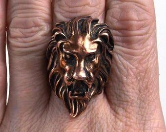 vintage 60s brass lions head ring sz 8.5 sculpted sculpture face open mouth roar jungle animal oversize big huge statement jewelry men women