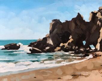 Pfeiffer Beach Seascape - Original Oil Big Sur Painting by Sharon Schock 6x8