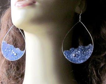 Large Star Hoop Earrings, Shooting Star Constellation Earrings, Silver Teardrop Hoops, Sky Blue Purple, Galaxy Earrings,