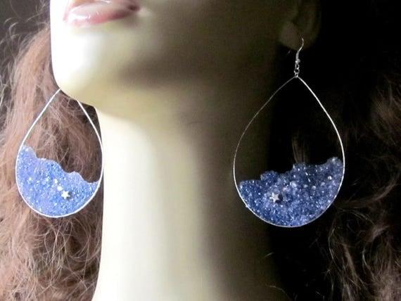 Large Star Hoop Earrings, Shooting Star Constellation Earrings, Silver Teardrop Hoops, Sky Blue Purple, Galaxy Earrings,
