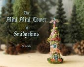 The Mini Mini Tower of Smidgekins - Enchanted N Scale Round Stone Tower with Flower Box, Mossy Tile Roof and Base - Terrarium Home Decor