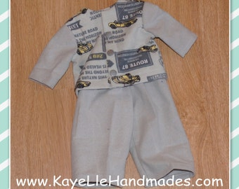 18 inch Boy Doll Clothes - Fashion Doll - Shirt and Pants - Pajamas - Gray with Yellow Cars