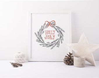 Holly Jolly 8x10 Wreath Print (Digital Instant Download)