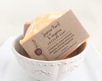 Jasmine Neroli & Tangerine Artisan Soap - Handmade Soap, Coconut Milk and Shea Butter Soap, Silk Soap