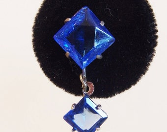 Sweet Tiny Vintage Faceted Blue Glass Dangle Earrings