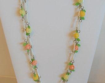 Pretty Vintage 1930's Celluloid Floral Chain Necklace