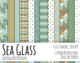 Ocean Theme Digital Printable Paper for Cards, Crafts, Art and Scrapbooking Set of 12 - Sea Glass - Instant Download in Green, Blue, & Brown