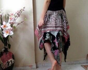 Woodland Fairy tattered skirt, Upcycled recycled clothing, Bohemian festival clothing