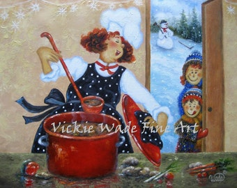 Mom Chef ORIGINAL Painting, fat chefs, chef paintings, chef kitchen, red hair mom, red head mom, red head kids, winter art,  Vickie Wade art