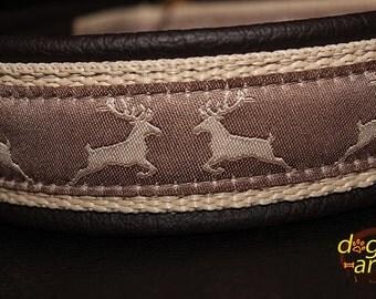 "Dog Collar ""Deer"" by dogs-art, dog collar, brass dog collar, martingale collar, limited slip collar, dog collar leather, leather dog collar"