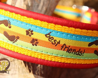 """Dog Collar """"Best friends"""" by dogs-art, martingale collar, limited slip collar, dog lover, red dog collar, paw prints, foot prints, collar"""